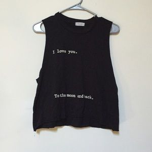Tops - I Love You To The Moon And Back Muscle Crop Top
