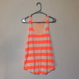 Tops - Neon Orange Striped Razor Back Tank Top!