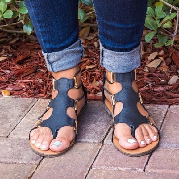 6e886396690 Black Stretch Gladiator Sandals
