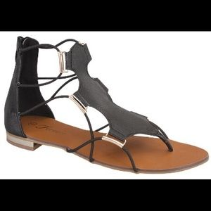 18880cb19dc Victoria Adames Shoes - Black Stretch Gladiator Sandals