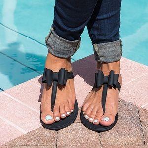 5ac85160e092 Victoria adames Shoes - Neon Orange Bow Jelly Sandals