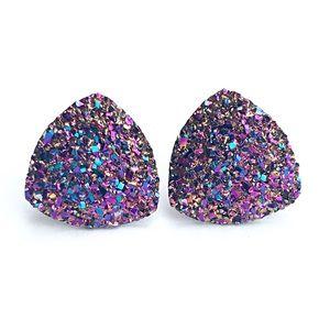 Jewelry - 3 for 15🎀magenta gold faux Druzy triangle studs