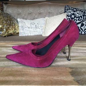 Sergio Rossi Shoes - Sergio Rossi magenta suede heels