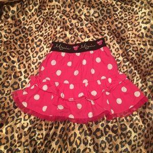 Pink and white polka dot skirt