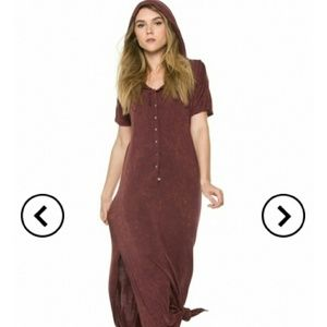 Button down maxi slip dress with hood