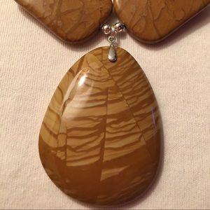 Wood Color Jasper and Jasper Stone Necklace