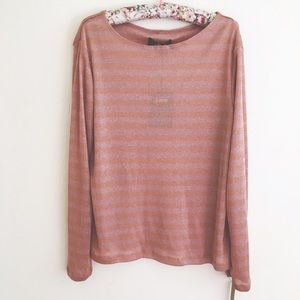 Reformation Tops - Reformation Metallic Mauve Striped Long Sleeve Top