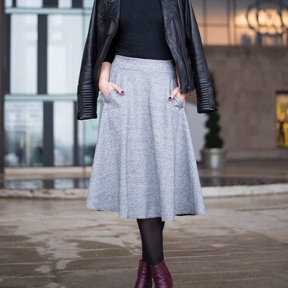 h m gray midi circle skirt from kate s closet on poshmark