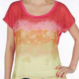 Jolt Tops - Pink Hibiscus Pieced Top