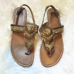 BC Snake and Metallic Sandals