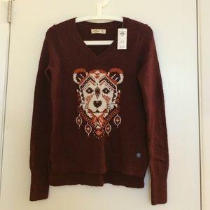NWT Hollister Women XS Burgundy Animal Sweater