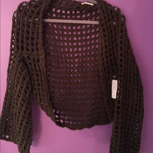 NWT Free People olive green open knit cardigan