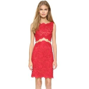 Reem Acra Dresses & Skirts - Reem Acra Re-embroidered Sheath Lace Dress - Red