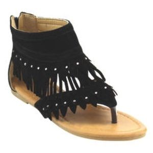 Other - 🎀Girl Sandals 🎀 Black diamond Fringe
