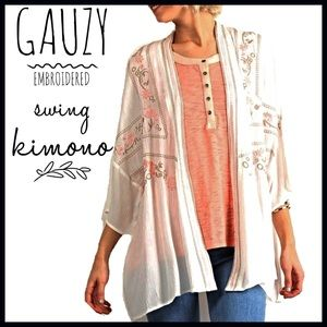 Boutique Other - Embroidered Kimono ($ FIRM UNLESS BUNDLED-Retail)