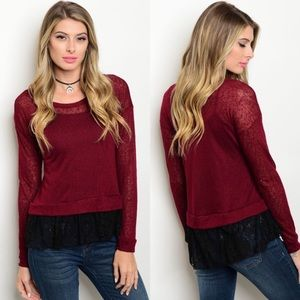 CLEARANCE Wine & Black Lace Ruffle Sweater Top