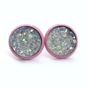thejeweladdict Jewelry - 3 for 15🎀Smoky Crystal faux Druzy pink studs