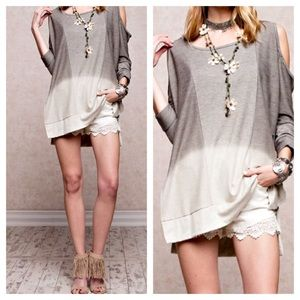 ❗️Cold Shoulder Ombre Tunic