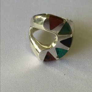 Vintage Other - Huge Sterling Silver Turquoise Ring