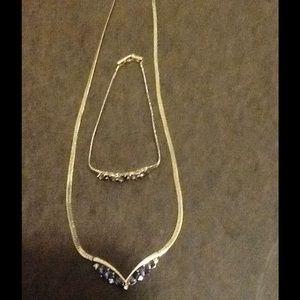 Avon Gold Necklace And Bracelet Set