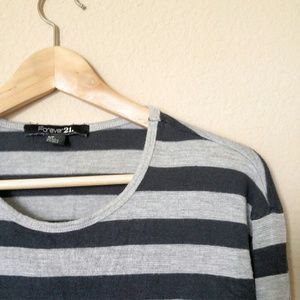 🎉SALE🎉 Jade Green and Gray Striped LS Tee