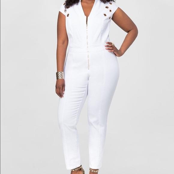 e07a2e90632d White denim jumpsuit with gold zipper and grommets