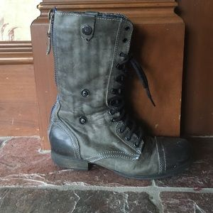 Black/Grey zip up and fold down combat boots