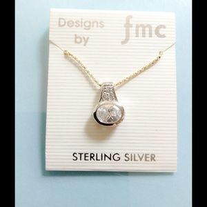 Jewelry - Sterling Silver a Rhinestone Necklace