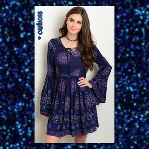 3 LEFT🆕Navy Paisley Boho Bell Sleeve Dress