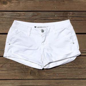 Celebrity Pink Pants - Size 3 {Celebrity Pink} White Cuffed Shorts