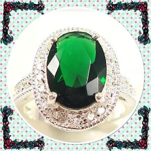 Huge 4.2ct Emerald & White Topaz silver ring