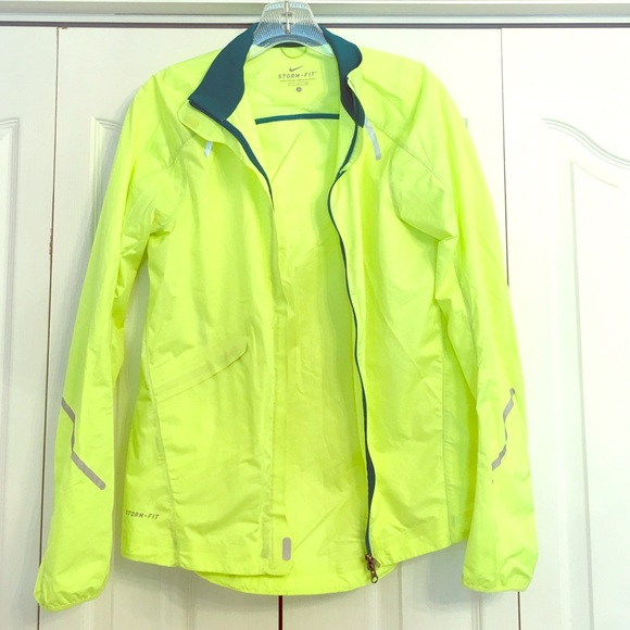 66% off Nike Jackets & Blazers - Nike Storm-Fit Neon Rain Jacket ...