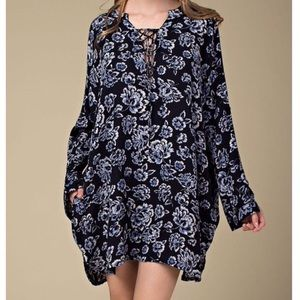 Southern Girl Fashion Dresses & Skirts - LACE UP DRESS Floral Printed Bohemian Swing Tunic