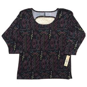 Love Squared Tops - Tribal Print Cut-Out Back Top