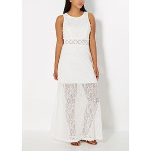 White Swirling Crochet Illusion Maxi Dress