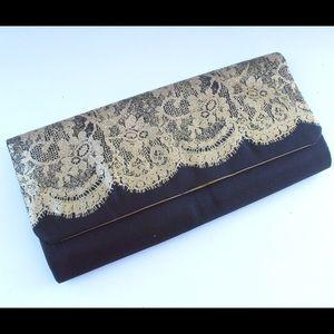 Handbags - Fancy Gold & Black Satin Evening Clutch Purse