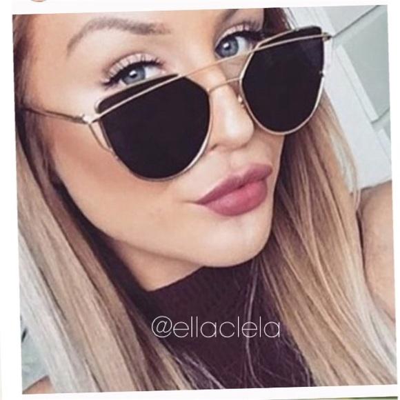 Accessories | Instagram Sunglasses schwarz schwarz schwarz Flat Lenses Gold Frame cc062d
