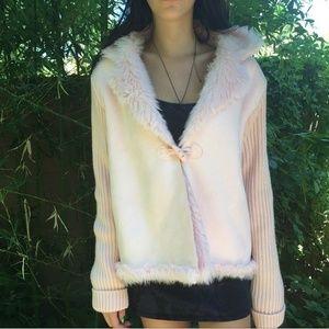Shop Jeen Jackets & Blazers - light pink fur coat