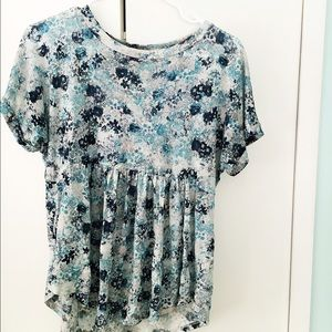 Blue & White Floral Top