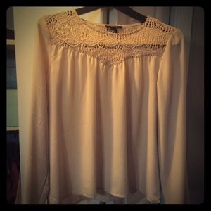 Beautiful Nude color sheer blouse NWOT