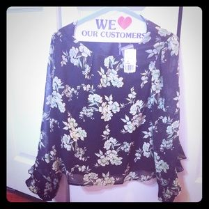 Beautiful floral Blouse with Ruffled Bell sleeve