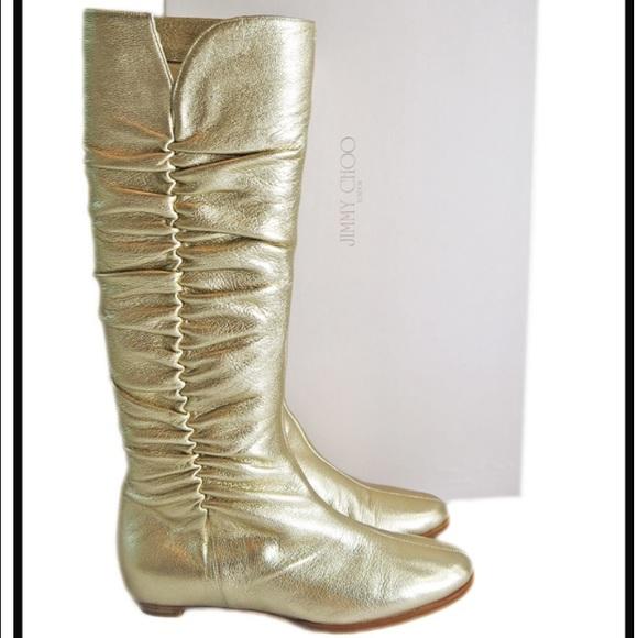 d1748661d9e Jimmy Choo Shoes - Jimmy Choo Gold Metallic Flat Ruched Boots size 37