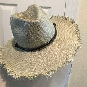Lucky Brand Straw Hat with Leather Band.
