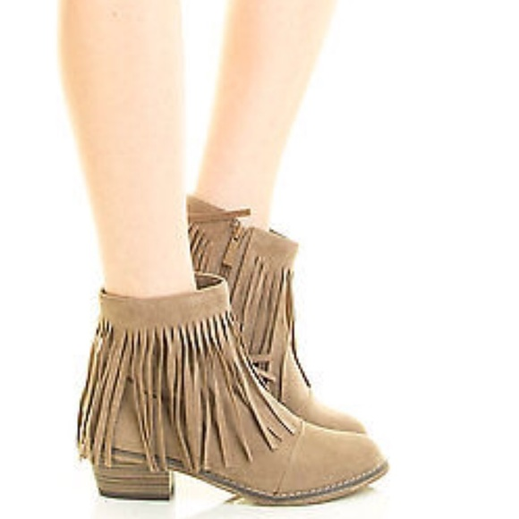 42% off Breckelles Shoes - Breckelles fringe low heel ankle boots ...