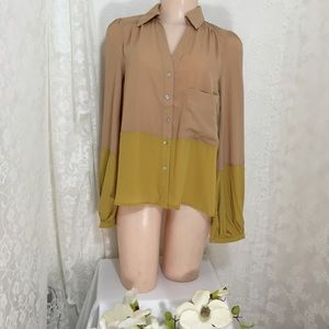 Love Riche Tops - 2 tones long sleeve blouse.B010