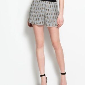 Zara Pants - Zara Yorkie Print Pleated Shorts