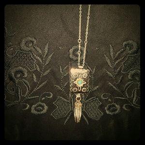 Concho necklace turquoise feathered boho