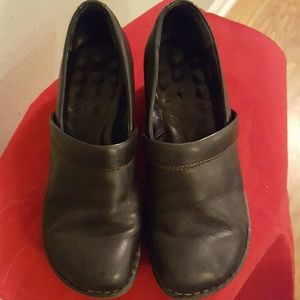 Born Black Leather Clogs