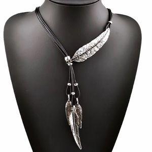 New Feather Pendant Statement Necklace Urban Black