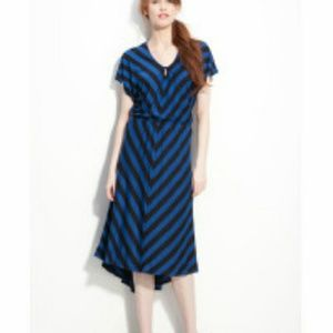Blue black chevron stripe hi lo dress